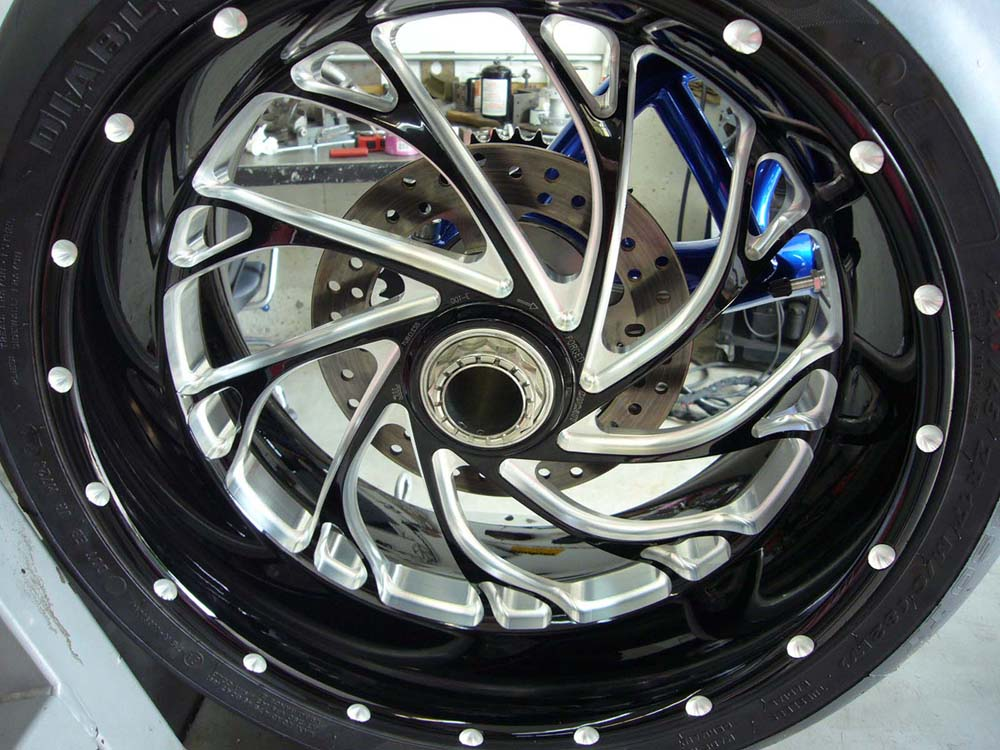 Ducati Diavel rear wheel mounted to CBR1000 single sided swingarm.